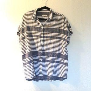Striped button up cotton, linen blend stripped
